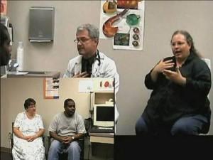 Interpreter working in doctor's office